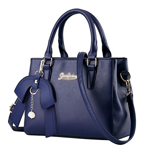 Jitong Donna Borsa a Tracolla Bag Messenger da Vintage PU in Pelle Shopping Borse a Spalla Blu Scuro