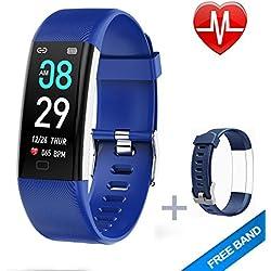 LYY Montre Connectée, Tracker D'activité Etanche IP67 Tension Artérielle Smartwatch avec Moniteur de Sommeil Cardiofrequencemetre Podomètre Montre Cardio pour Android iOS (Bleu)