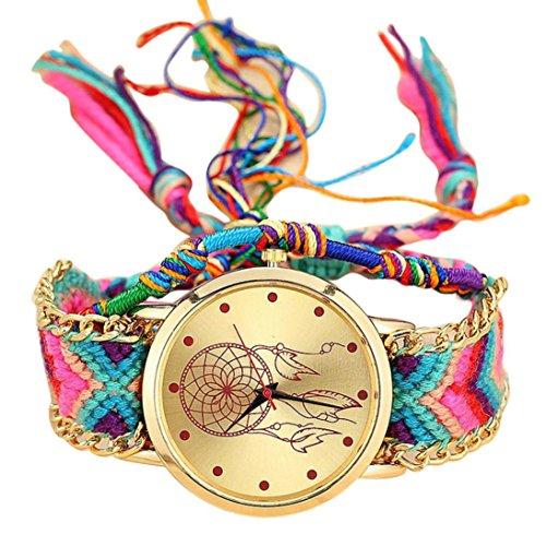 Preisvergleich Produktbild U.Expectating Armbanduhr,  handgefertigt von Einheimischen,  Damen-Quarzuhr,  gewebtes modisches Armband im Retro-Stil,  Freundschaftsbänder