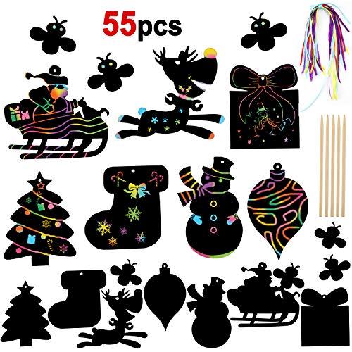 HOWAF 55 Pezzi Natale Scratch Art Fai da Te per Bambini con Penne di bambù e Nastro da Appendere Natale Decorazioni Albero, Regalo di Natale Bamb