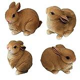 Set da 4 di figure in poliresina di 1PLUS figure da giardino, coniglietto, dipinto a mano, decorazioni da giardino animali, figure decorative in resina sintetica