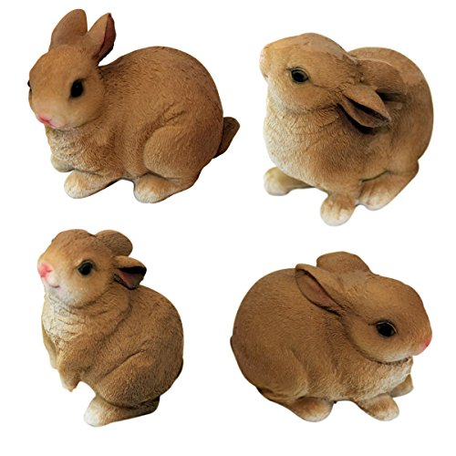 1Plus - Set of 4 polyresin figures Garden figures bunnies Rabbits, hand painted, Garden Decoration Animals, resin decoration figures