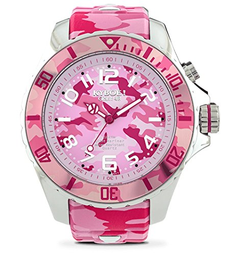 KYBOE! Quartz Stainless Steel and Silicone Watch (Model: Pink Camo)