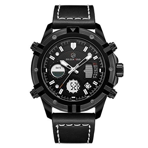 Herrenuhren Sportarten Digital Analog Wasserdicht Multifunktions Milit?r Braun Leder Alarm Stop Armbanduhr (Voll schwarz) (Robuste Uhr)