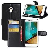 Vodafone Smart Prime 7 Hülle, HualuBro Premium PU Leder Leather Wallet Handyhülle Tasche Schutzhülle Case Flip Cover mit Karten Slot für Vodafone Smart Prime 7 Smartphone (Schwarz)