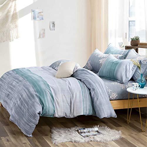 Shatex Bettwäsche-Set, luxuriös, 5-teilig, gesteppt, für Doppelbetten, 100% Polyester, Wolken-Bettwäsche-Set, inkl. 1 Bettbezug, 1 Bettrock, 2 Kissenbezügen -