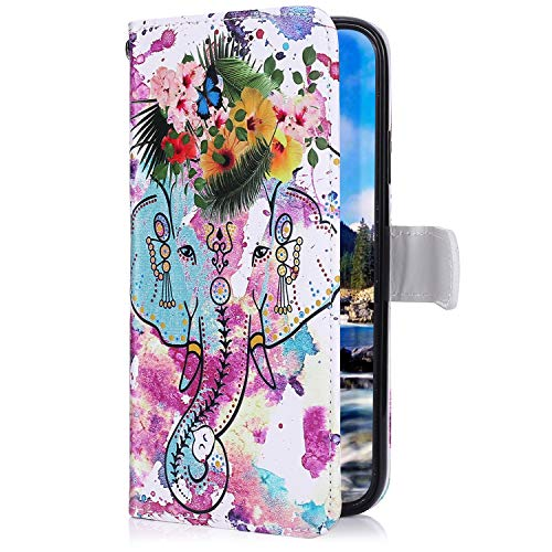 Uposao Kompatibel mit Samsung Galaxy A7 2018 Handyhülle Lederhülle Bunt Retro Muster Schutzhülle Flip Case Handy Tasche Wallet Hülle Bookstyle Klapphülle Kartenfächer,Blume Elefant