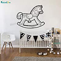 zhuziji Vinyl Wall Sticker Toy Rocking Horse Decals For Baby Room Removable Home Decoration Lovely Nursery Unique Murals Gif