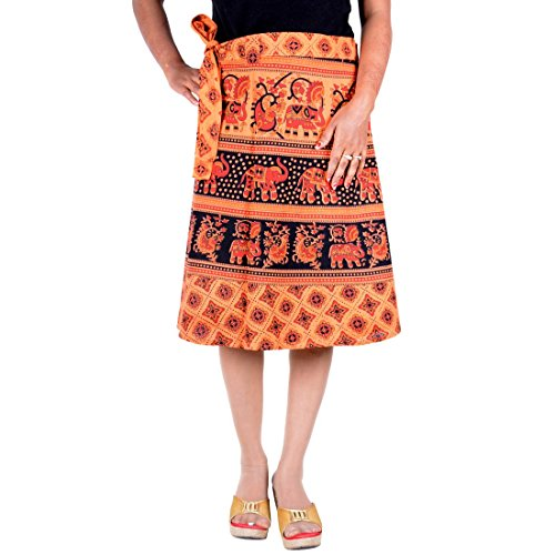Knee Length Wrap Around Hippie Gypsy Skirt Rapron Indian Cotton dress