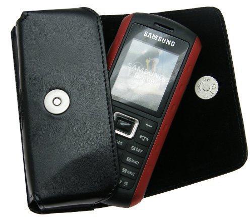 MTT Original Quertasche aus Echtleder mit Gürtelschlaufe für Samsung B2100/B2700/E2370/SGH M110 schwarz
