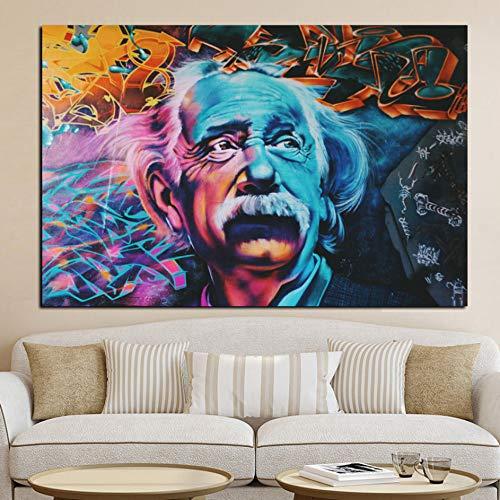Rjjdd Hd Druck Abstrakte Albert Einstein Ölgemälde Auf Leinwand Bild Moderne Pop Art Giclée Poster Für Wohnzimmer Sofa Cuadros Decor Segeltuch (Einstein-bild)