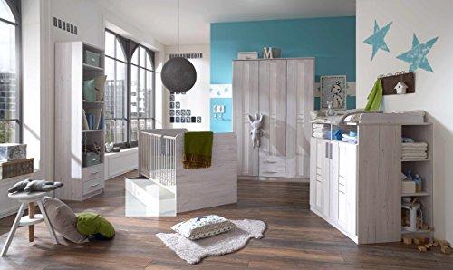 """Babyzimmer-Set """"BORNHOLM"""" 6tlg Komplettset Bett Wickelkommode Gr. Schrank Regal Weisseiche Nachbildung / Icy White"""