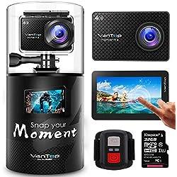 VanTop Moment 4 Caméra Sport 4K WiFi avec Écran Tactile et 32GB Carte Micro SD, 40M Étanche,20MP Sony Capteur, 170° Angle, 2 Batteries, Télécommande et 22 Accessoires Compatible avec gopro