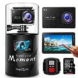 VanTop Moment 4 Caméra Sport 4K WiFi avec Écran Tactile et 32GB Carte Micro SD, 40M Étanche,20MP Sony Capteur, 170°Grand Angle, 2 Batteries, Télécommande et 22 Accessoires Compatible avec gopro