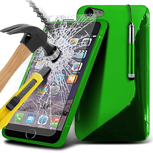 i-Tronixs ( Red ) <b>     Le cas Apple iPhone 6S housse étui     </b>     case étui Premium Quality S Line Wave Gel Case Skin Cover With LCD Tempered Glass Screen Protector Guard, Polishing Cloth & Mini Retractabl Wave Gel+ Glass ( Green )