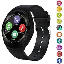 Reloj inteligente,gearlifee reloj con pantalla táctil Bluetooth Smartwatch con ranura para tarjeta SIM TF, podómetro, monitor de sueño para iPhone X/8/8P/7/7p, Samsung, Sony, Huawei, LG,Xiaomi(Negro)