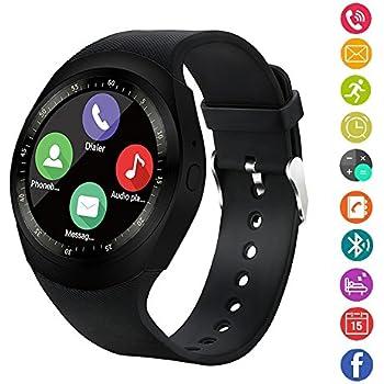 Reloj inteligente,gearlifee reloj con pantalla táctil Bluetooth Smartwatch con ranura para tarjeta SIM TF, podómetro, monitor de sueño para iPhone X / 8 ...