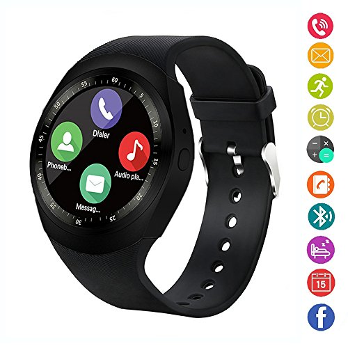 Smart Watch,IDEALBY Rotondo Android Bluetooth Smartwatch Touch Screen Orologio con slot per schede SIM TF,Pedometro,Monitor Sonno,Whatsapp,FB per IOS Telefoni iPhoneX/8/8p/7/7p,Sony,Huawei(Nero)