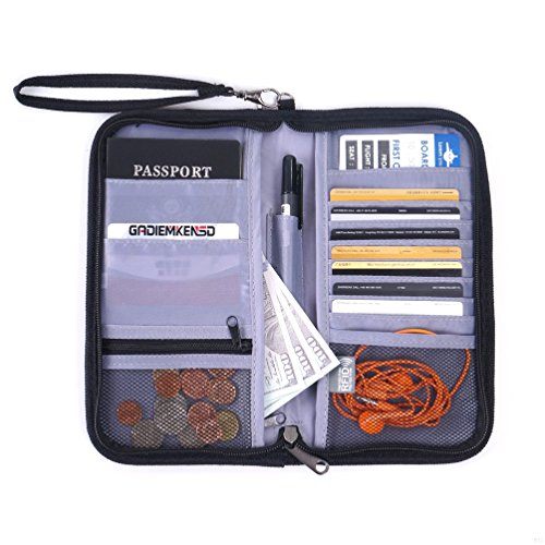 GADIEMENSS Travel Wallet Passports Holder with RFID Blocking Offer Family Organizer for Credit & Business Cards, Document, Boarding Pass, and Accessories (Blak)