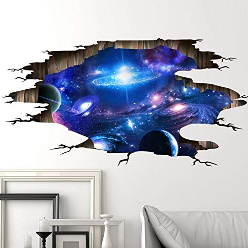 JINYANG Wandaufkleber Wohnzimmer 3D stereoskopische Dekoration Boden Decke das Universum Milchstraße Muster Wandaufkleber