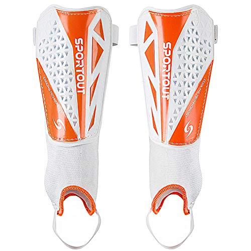 Sportout Kids Jugend Erwachsene Fußball Schienbeinschoner mit schützender Hartschale, bietet umfassenden Schutz für die Beine Ihrer Kinder. (Weiß 2.0 Pro, M) -