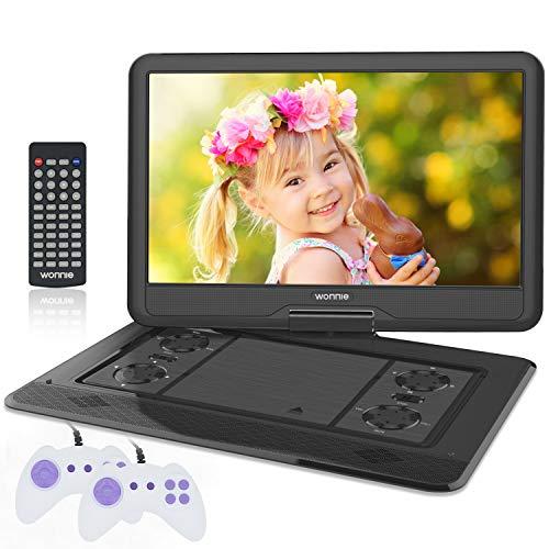 """WONNIE 17.5"""" Tragbarer DVD-Player mit 15.6 Zoll Rotation Bildschirm 1366x768 HD, 5600mAh Akku 6 Stunden, Stereoton, Regionen Frei, USB/SD/AV Out & IN (Schwarz)"""