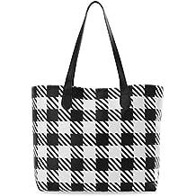 3727ef596b7a8 große Damen Tasche Shopperbag City Style Handtasche Tote Bag kariert schwarz