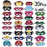 Yidaxing 35 Piezas Máscaras de Superhéroe, Máscaras de Fieltro Mitad Máscara de Cosplay con Cuerda Elástica Máscaras de Ojos para Niños Mayores de 3 años