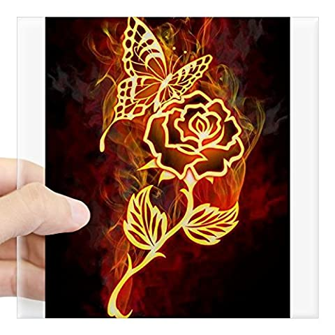 CafePress - Flaming Rose And Butterfly Love Sticker - Square Bumper Sticker Car Decal, 3