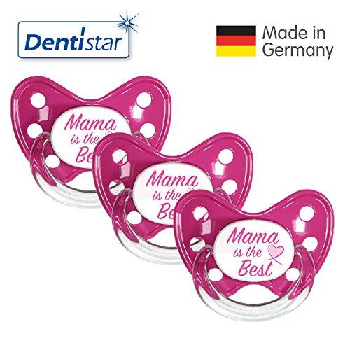 Dentistar® Silikon Schnuller 3er Set - Beruhigungssauger, Nuckel, Nuggi, Größe 3, 14+ Monate - zahnfreundlich & kiefergerecht | Pink Mama