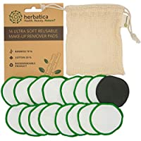 Reusable Make Up Pads - Pack of 16 Reusable Cotton Pads with Laundry Bag - Washable Bamboo Makeup Remover Pads - Eco Friendly Face Cloth for all Skin Types