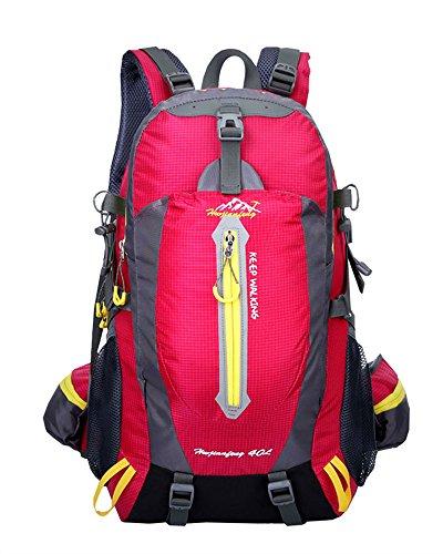 Ben Sports 40L Large Capacity Wandern Rucksack für Männer und Frauen, Outdoor Breathable Wasserdichte Rucksack, Wandern Daypack rose