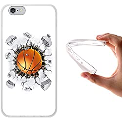 WoowCase - Funda Gel Flexible { iPhone 6 6S } Balon de Baloncesto Carcasa Case Silicona TPU Suave