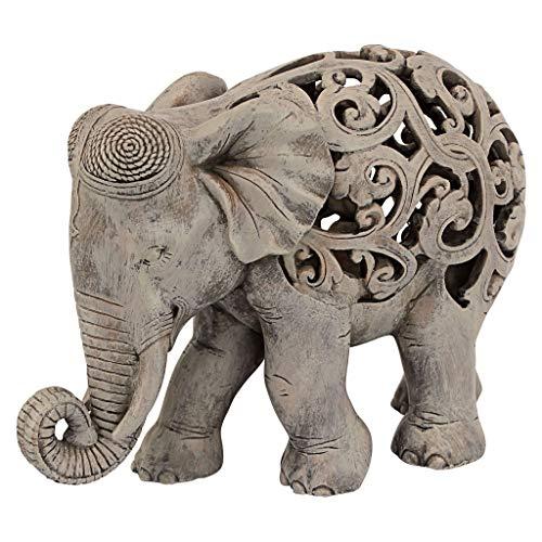 Design Toscano Anjan der Elefant indische Deko Jali Tierstatue, 30.5 cm, Gotischer Stein