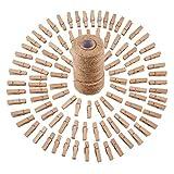 sunmns 320Füße Jute Bindfäden und 100Stück Mini Natur Holz Craft Wäscheklammern Craft Pegs Clips