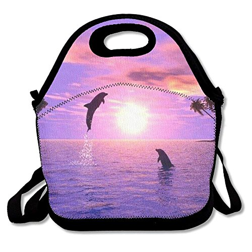 Preisvergleich Produktbild Beautiful Purple Dolphin Tropical Beach Insulated Lunch Bag - Lunch Bag - Large Reusable Lunch Tote Bags For Women, Teens, Girls, Kids, Baby, Adults Portable Carry