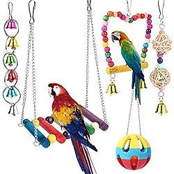BOTTLEWISE 5pcs Juguetes Coloridos para Pájaros en Juala, con Columpio y Campana, Juguetes para Masticar para Loros Agaporni Yacos Periquitos