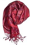 ufash Pashmina Seidenschal Tuch aus Indien, Paisley Muster, 160 x 35 cm - 100% federleichte Seide, Rot