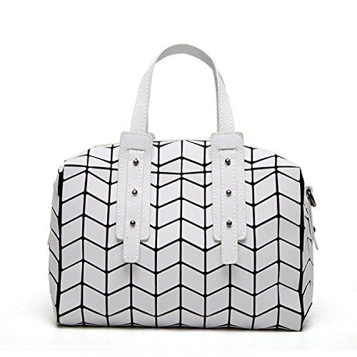 Frau Boston Handtasche Geometrische Klapptasche Diagonale Umhängetasche Elegante Mosaik Tasche Personalisierte Mode Kissen Tasche,White-OneSize - Personalisierte Boston Bag