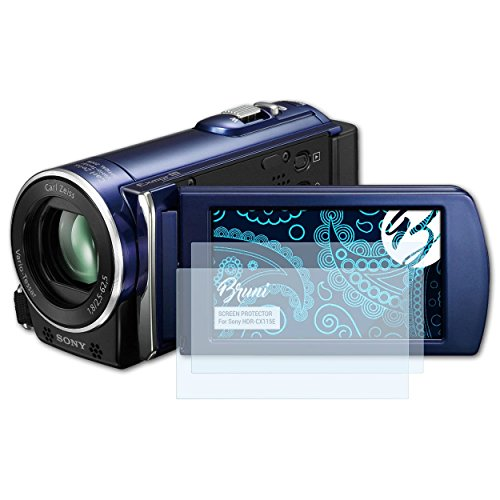 Bruni Película Protectora para Sony HDR-CX115E Protector Película - 2 x Claro Lámina Protectora de Pantalla