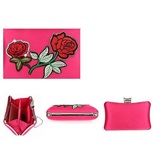 Frauen Abendtasche Strass Handtasche Stickerei Bankett Partei Hochzeit Kupplung Geldbörse. 20 X 11 X4Cm rose