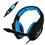 EasySMX ESM939P Plus Wired Gaming Headset für PS4 Kompatibel mit PC Mobile Tablet Closed-Back Earcups Abnehmbare Mikrofon In-line Lautstärkeregelung (Schwarz+Blau)