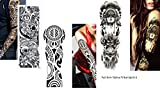 3 Sheet VOLLEN ARM TATTOO FAKE TATTOO Indianer Tribal Rosen Skull Länge 45cm