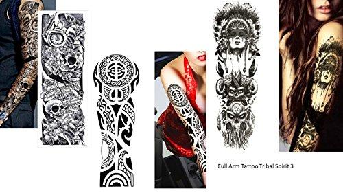3sheet vollen arm tattoo tatuaggio falso indianer tribal rose skull lunghezza 45cm