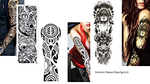 fake tattoo arm 3 Sheet VOLLEN ARM TATTOO FAKE TATTOO Indianer Tribal Rosen Skull Länge 45cm