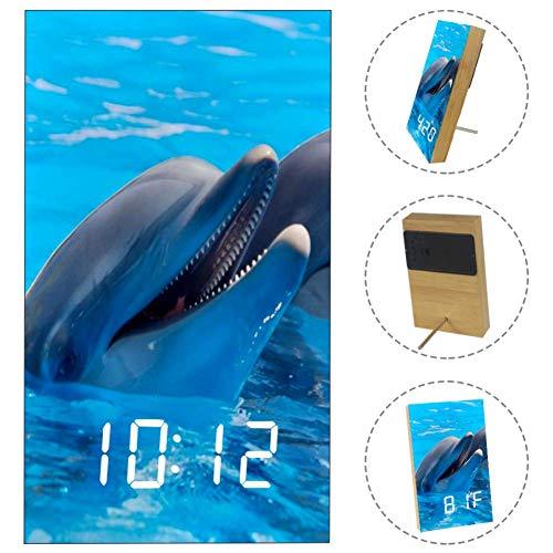 Yuzheng Tierische süße Delfine Digitaler Wecker Nachtnetz mit Schlummerfunktion, elektronische Digitaluhr mit großem LED Schreibtischuhr, for für Schlafzimmer Wohnzimmer (Wecker Tierische)