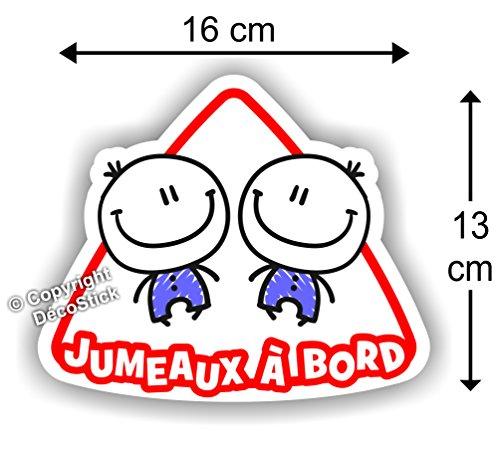 Jumeaux à bord Garçon / Garçon - Sticker Autocollant bébé à bord modèle 2