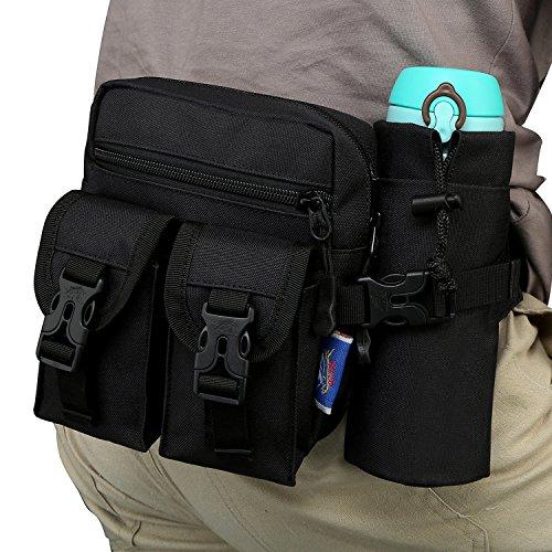 Galopar Außen Camping Hüfttasche Sport Wasserdicht Hüfttasche mit Kettle Tasche Laufen Gürteltasche Pouch Gürteltasche für Wandern Laufen Radfahren Camping Reise Klettern 01 Black