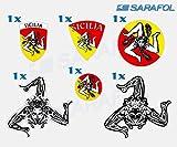 Sizilien Sicilia Set 6 Tlg. Aufkleber im Set (Nr.070) Adesivo Trinacria Adesivi Sicilia Sticker Sicily