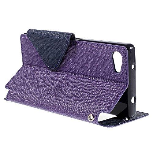 Étui de protection à rabat haut de gamme ultra fin avec fenêtre, en simili cuir avec coque intérieure en silicone lilas